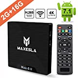 Android 7.1 TV Box - Maxesla MAX-S II Smart TV Box mit 2GB Ram + 16GB eMMC, CPU Amlogic S905W, 4K...