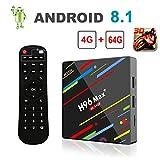 [Android 8.1 4GB+64GB] 2018 Smart TV Box 4K Ultra HD H96 Max+ TV Box RK3328 Quad-Core 64bit CPU...