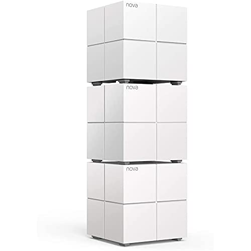 Tenda Nova MW6 3x echtes Dual-Band Mesh WLAN Komplettlösung (Bis zu 500m² WLAN, 3x Stationen, 6x Gigabit Ports, für Häuser, Büros, Wohnungen, MU-MIMO, Beamforming), Powerline...