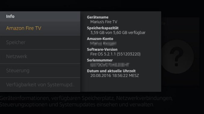 Amazon Fire TV Systeminformationen und Speicherplatz