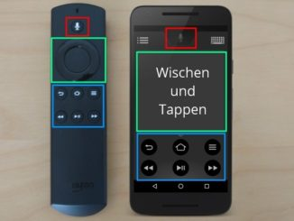 Amazon Fire TV Sprachfernbedienung und Amazon Fire TV Fernbedienungs-App auf dem Smartphone.