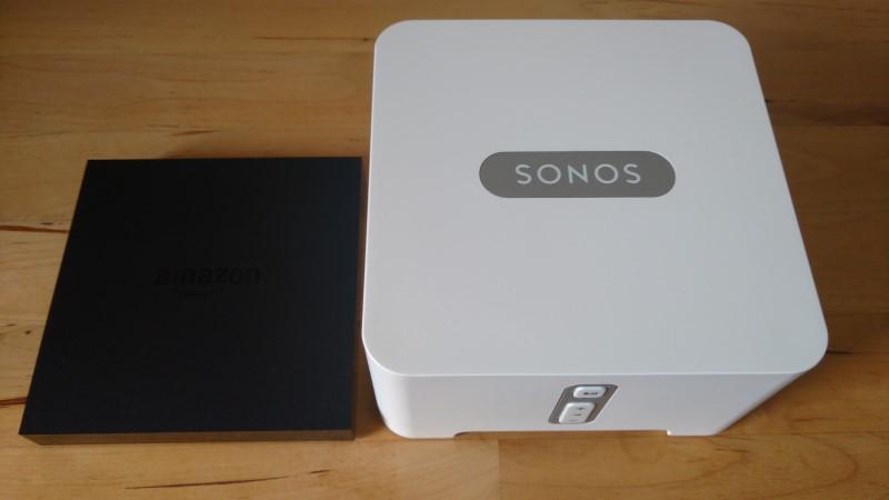 Sonos Connect und Amazon Fire TV im Größenvergleich