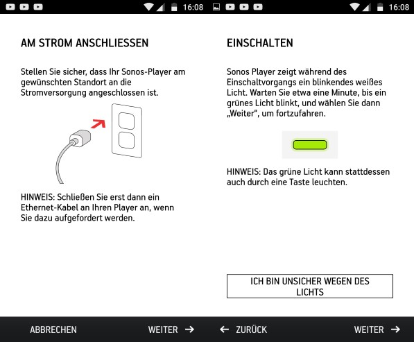 Sonos Connect Setup mit der Sonos Controller-App