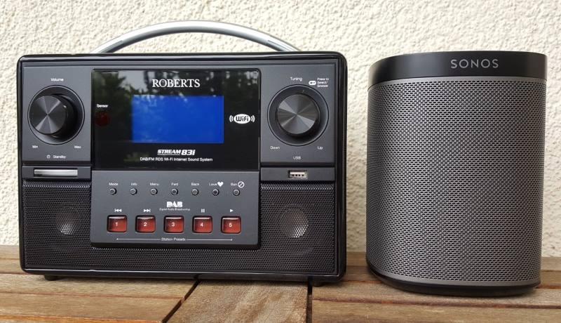 Sonos Play:1 im Vergleich mit einem Roberts Internetradio.