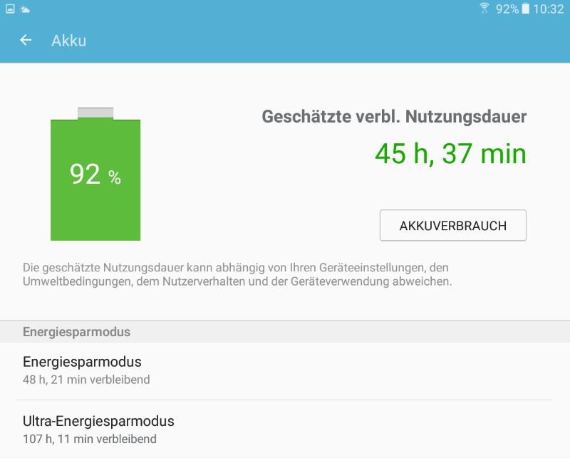Der Samsung Smart Manager zeigt die geschätzte verbleibende Nutzungsdauer des Akkus an.
