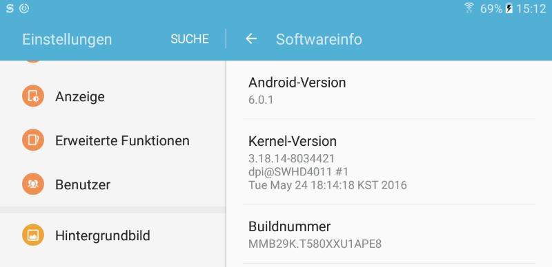 Das Samsung Galaxy Tab A (2016) Tablet wird bereits mit Android 6.0.1 ausgeliefert.