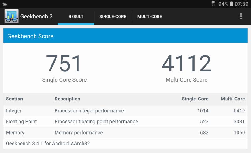 Geekbench 3 misst für das neue Samsung Galaxy Tab A Tablet beachtliche Werte.