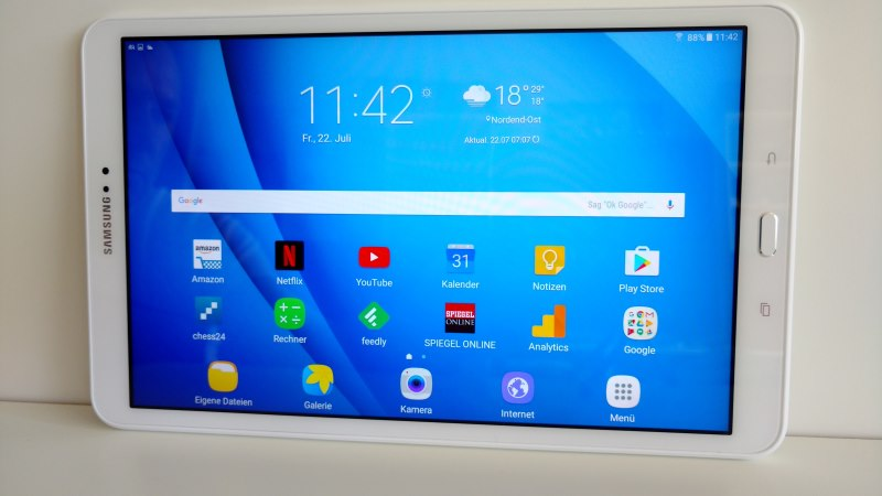 Der Samsung Galaxy Tab A (2016) Tablet Homescreen
