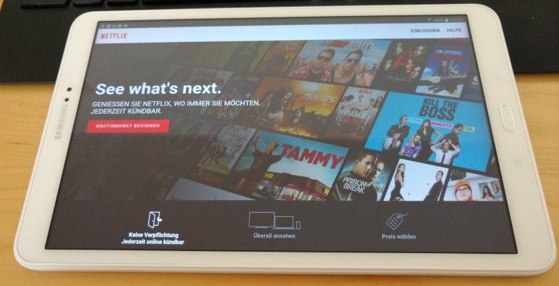 Netflix auf dem Samsung Galaxy Tab A (2016) Tablet.