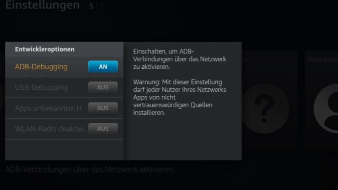 ADB-Debugging am Amazon Fire TV einschalten