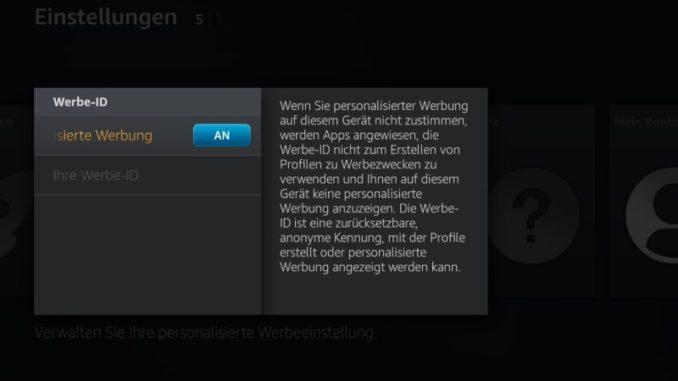 Die Werbe-ID kann man auf dem Fire TV jetzt ein- oder ausschalten