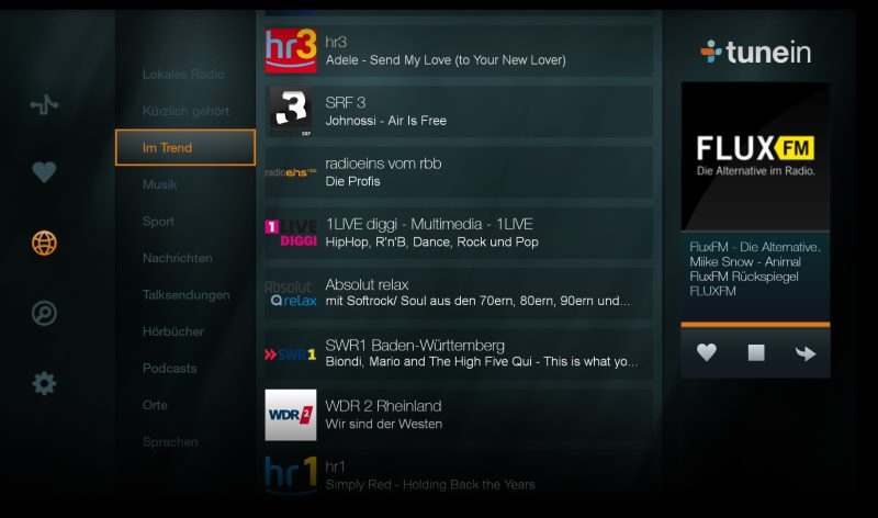 TuneIn Internetradio App auf dem Amazon Fire TV