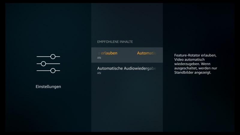 Amazon Fire TV Software Version  5.2.4.0 Empfohlene Inhalte ein- oder ausschalten