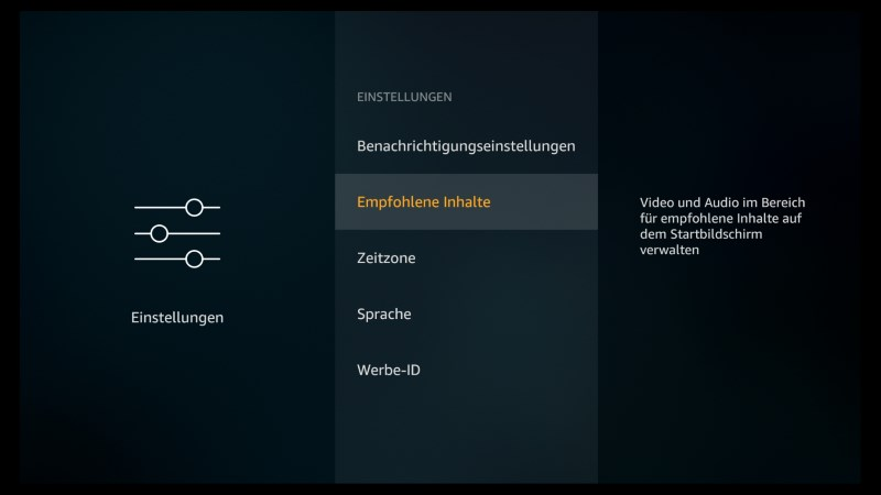 Amazon Fire TV Software Version  5.2.4.0 Empfohlene Inhalte