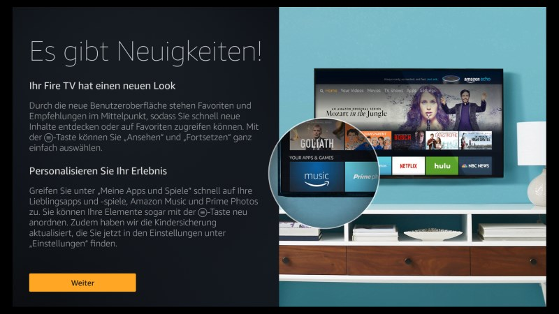 Amazon Fire TV Software Version 5.2.4.0 Startbildschirm