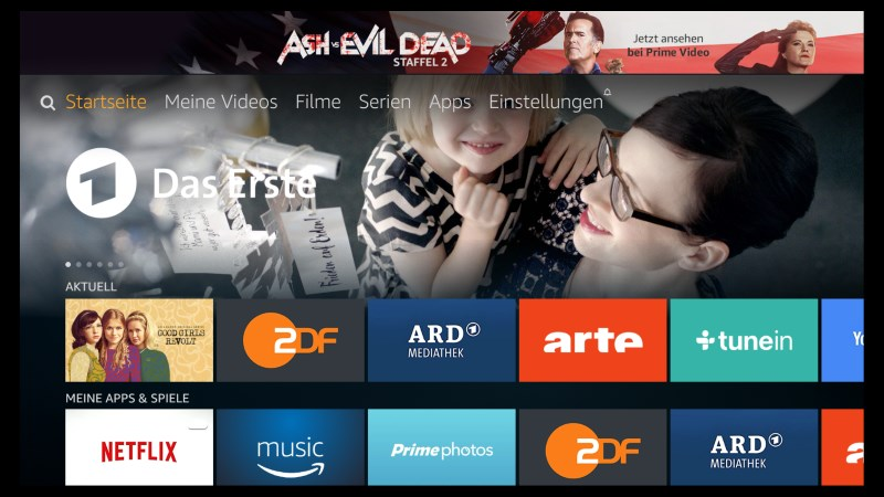 Amazon Fire TV Software Version 5.2.4.0 Startseite