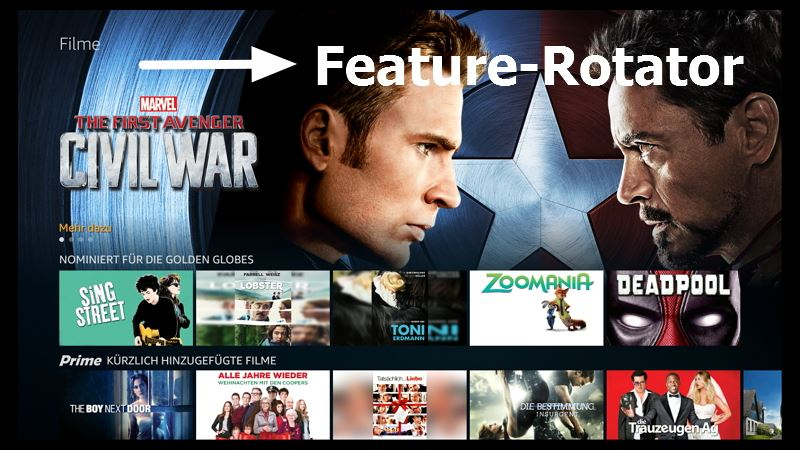 Der Feature Rotator der Amazon Fire TV Software Version  5.2.4.0