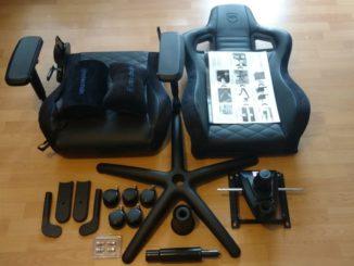 Noblechairs Epic Gaming Stuhl Einzelteile ausgepackt.