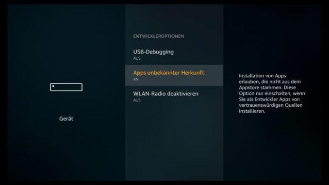 Amazon Fire TV Apps unbekannter Herkunft erlauben