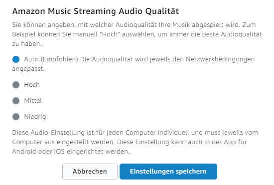 Amazon Music Unlimited Audio Qualität