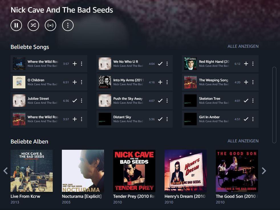 Amazon Music Umlimited Künstler Seite
