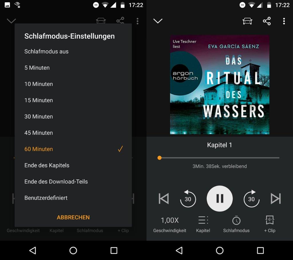 Schlafmodus Einstellungen in der Audible App für Android