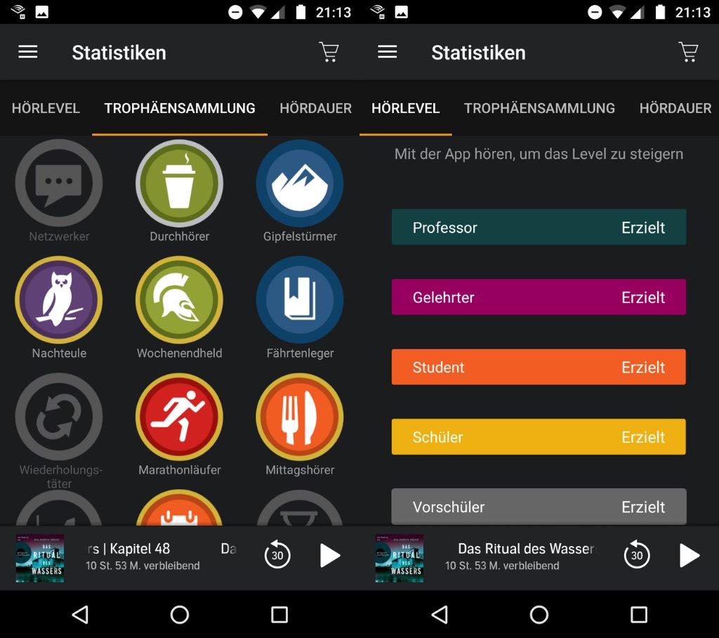 Statistiken und Trophäen in der Audible App für Android
