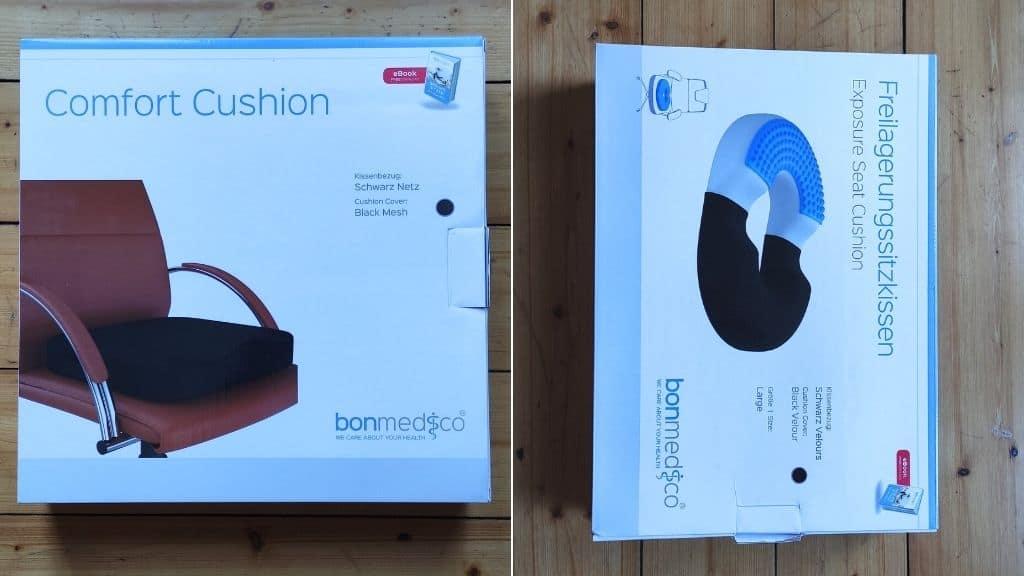 Verpackung der beiden bonmedico Sitzkissen